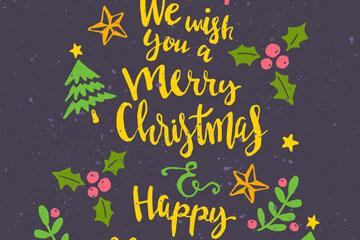 彩绘圣诞快乐艺术字圣诞树矢量图