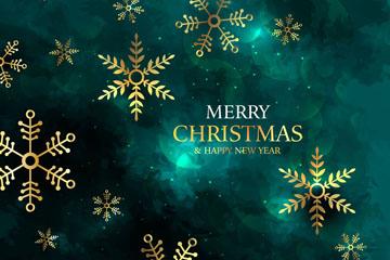 金色雪花圣诞节贺卡矢量素材
