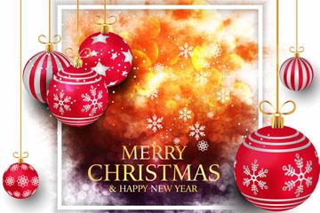 红色圣诞吊球节日贺卡矢量素材