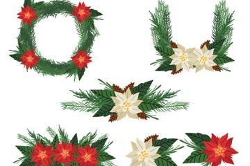 5款彩绘圣诞花环矢量素材