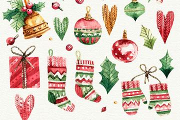 22款水彩绘圣诞装饰物矢量图