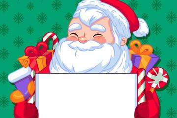 卡通举白纸板的笑脸圣诞老人矢量图