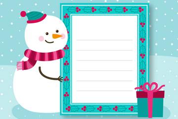 可爱圣诞节雪人装饰信纸矢量素材