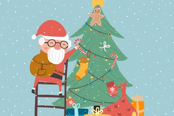 可爱装饰圣诞树的圣诞老人矢量图