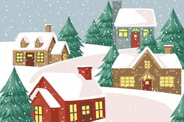 卡通雪中的圣诞夜小城矢量图