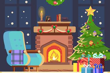温暖圣诞节客厅壁炉设计矢量素材