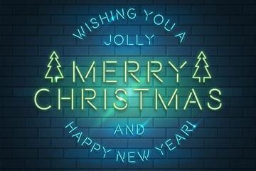 创意圣诞快乐霓虹灯艺术字矢量图