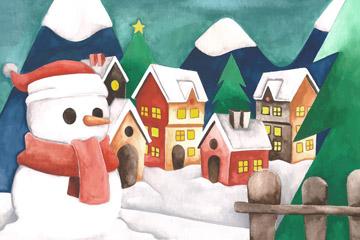 水彩绘圣诞小镇和雪人矢量图