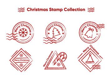 9款创意圣诞节邮戳矢量图
