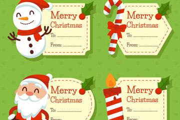 4款可爱圣诞节留言卡矢量梦之城娱乐