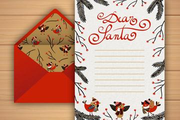 可爱圣诞信纸和信封矢量梦之城娱乐