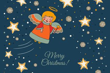 彩绘夜空中的圣诞天使和星星矢量图