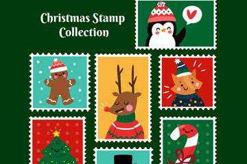 7款可爱圣诞节邮票矢量梦之城娱乐