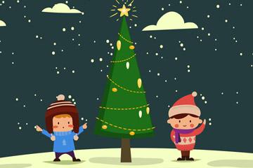 创意圣诞树和2个小朋友矢量图
