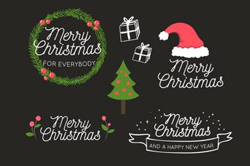 6款创意圣诞快乐艺术字矢量图