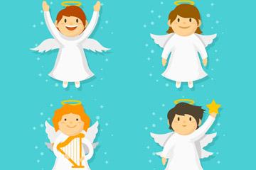 4款白色圣诞节天使矢量梦之城娱乐