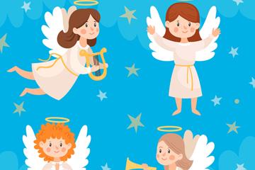 4款可爱圣诞节白色天使矢量图