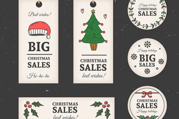 6款彩绘圣诞节促销吊牌和标签矢量图