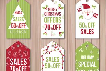 6款彩色圣诞节促销吊牌矢量素材