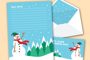 创意圣诞雪人信纸和信封矢量素材