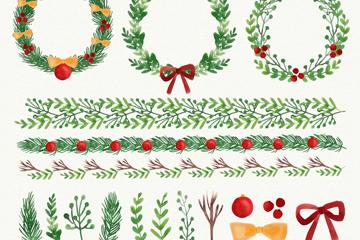 20款水彩绘圣诞花环和花边矢量素