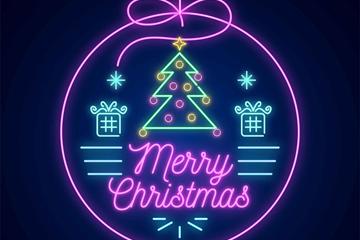 紫色霓虹灯圣诞吊球矢量素材