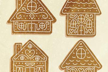 4款彩绘圣诞节姜饼屋矢量素材