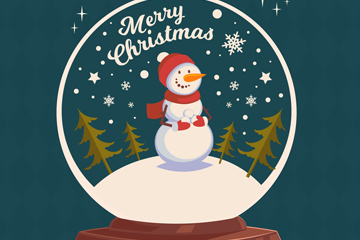 可爱圣诞节雪人雪花玻璃球矢量素材