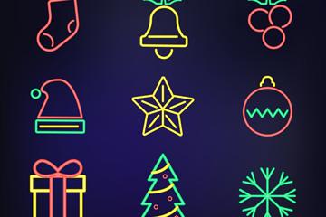 9款彩色霓虹灯圣诞节图标矢量图