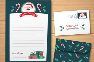 创意圣诞老人信封和信纸矢量图