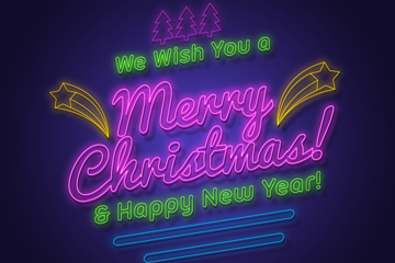 紫色圣诞快乐霓虹灯艺术字矢量图