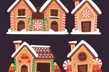 4款卡通圣诞节姜饼屋矢量素材