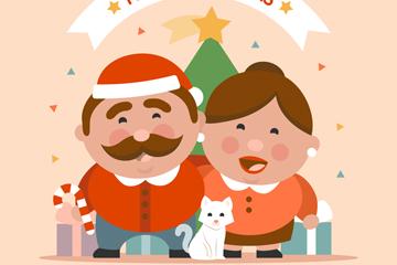 可爱圣诞节夫妇和宠物猫矢量图