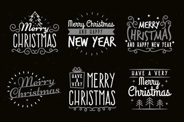 9款白色圣诞和新年快乐艺术字矢量图
