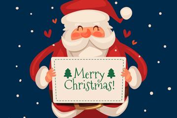 可爱举祝福卡的圣诞老人矢量素材