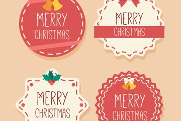 4款创意圣诞快乐标签矢量素材