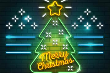 创意霓虹灯圣诞树矢量素材