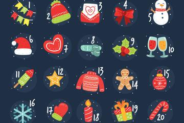 可爱圣诞月月历图标设计矢量素材