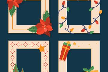 4款创意圣诞元素照片边框矢量素材