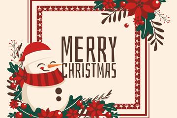 可爱笑脸圣诞雪人贺卡矢量素材