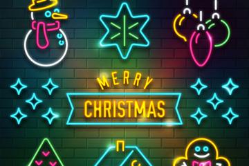 6款彩色圣诞元素霓虹灯矢量素材