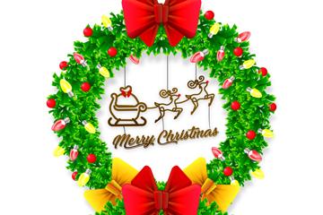 绿色圣诞节花环和彩灯设计矢量素