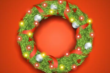 创意彩灯圣诞花环矢量素材