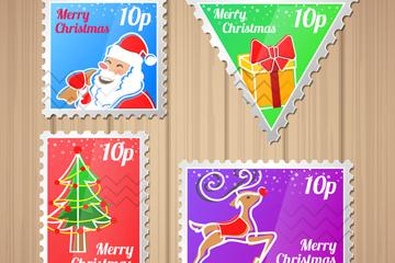 4款彩色圣诞节邮票矢量素材