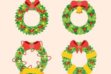 4款绿色圣诞节花环矢量素材