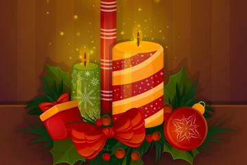 精美圣诞节蜡烛矢量素材