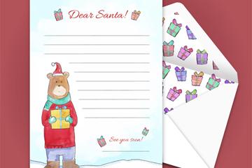 彩绘熊圣诞节信封和信纸矢量图