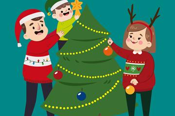 卡通装饰圣诞树的一家三口矢量图