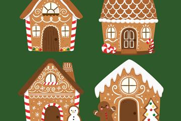 4款彩绘可爱圣诞姜饼屋矢量图