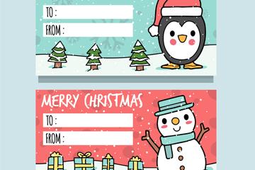 2款可爱圣诞元素留言卡矢量素材
